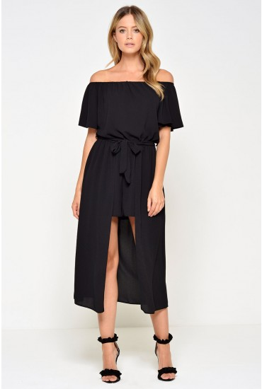 Lydia High Low Playsuit in Black