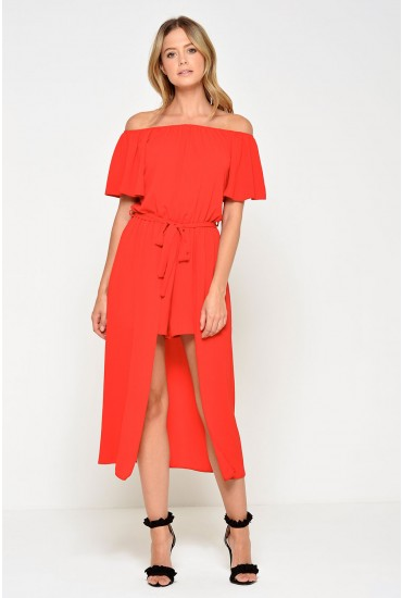 Lydia High Low Playsuit in Red