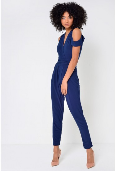 Meridith Cold Shoulder Jumpsuit in Navy
