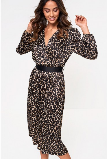 Davis Wrap Midi Dress in Leopard Print