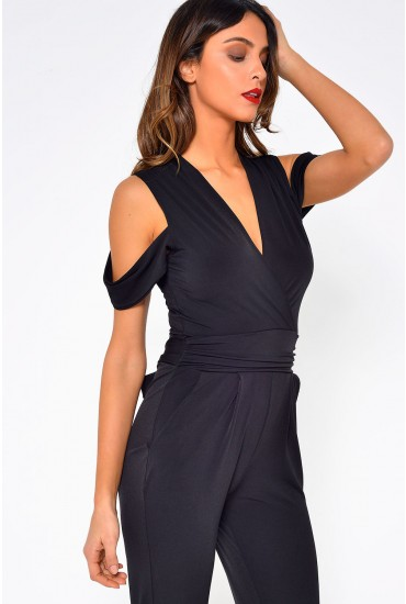 Celine Cold Shoulder Jumpsuit in Black