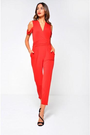 Celine Cold Shoulder Jumpsuit in Red