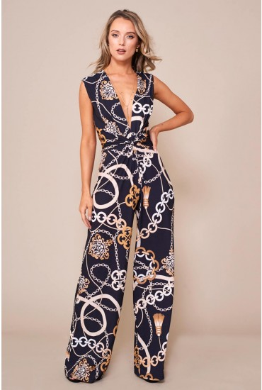 Kelly Chain Print Jumpsuit in Black