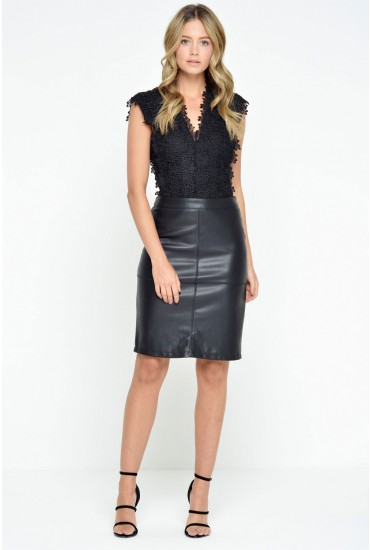 Mia PU Pencil Skirt in Black