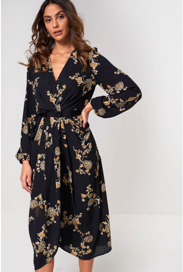 Marilla Long Sleeve Printed Midi Dress in Black
