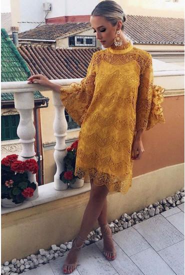 Diadora Crochet Dress in Golden Yellow