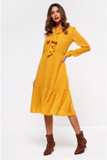 Bow Midi Dress With Peplum Hem in Mustard