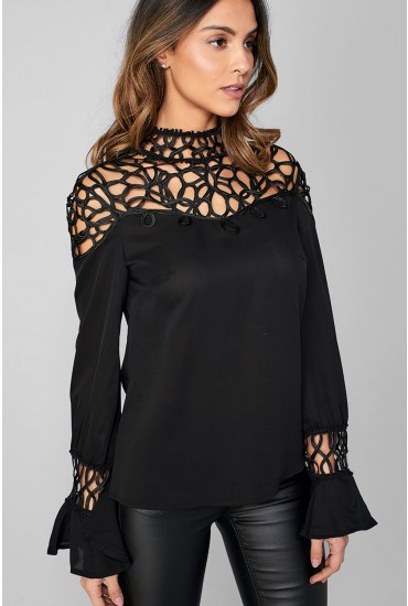 Daiden Frill Sleeve Top in Black