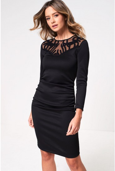 Miva Long Sleeve Occasion Dress in Black