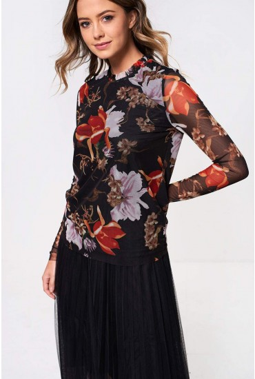 Asorient Top with Frill Neck in Black Floral