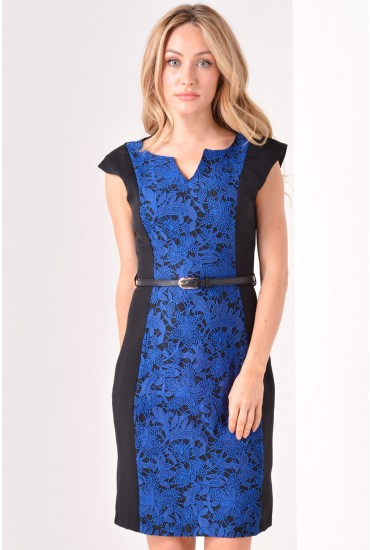 Mary Lace Panel Dress in Royal Blue