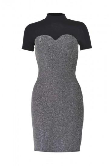 Finity Short Dress in Silver