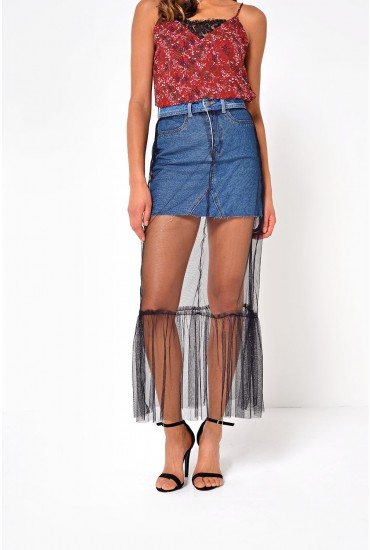 Be Lexi Mini Denim and Tulle Skirt