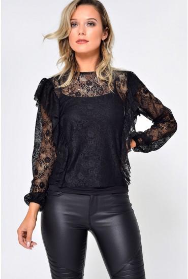 Lilja L/S Lace Ruffle Top in Black