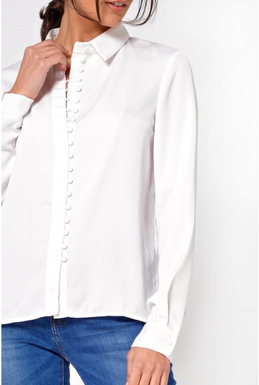 Chella Long Sleeve Button Up Shirt in White