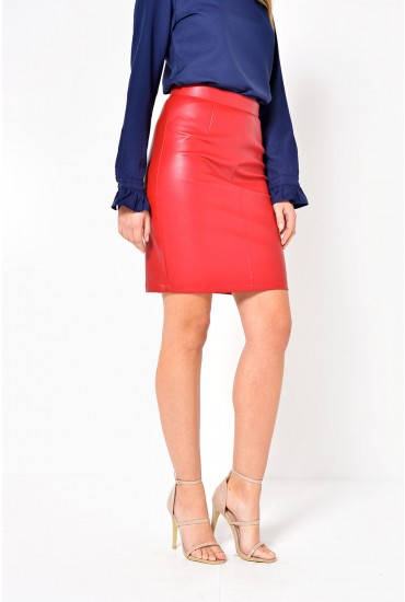 Penny Pu Skirt in Red