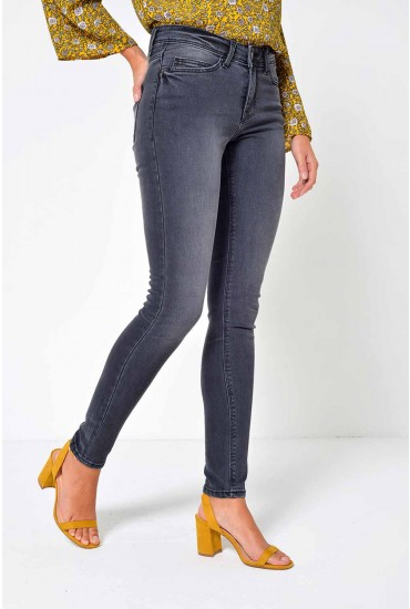 Lucy Long Recycled Jeans in Washed Black