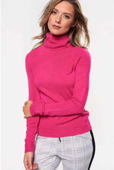 Check Rib Roll Neck Top in Pink