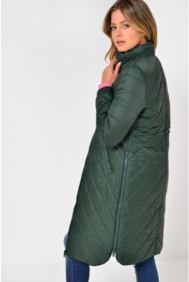 Selma Quilted Long Jacket in Hunter Green