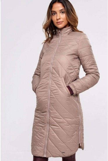 Selma Quilted Long Jacket in Beige