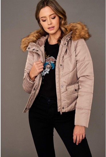 Simona Short Padded Jacket in Taupe