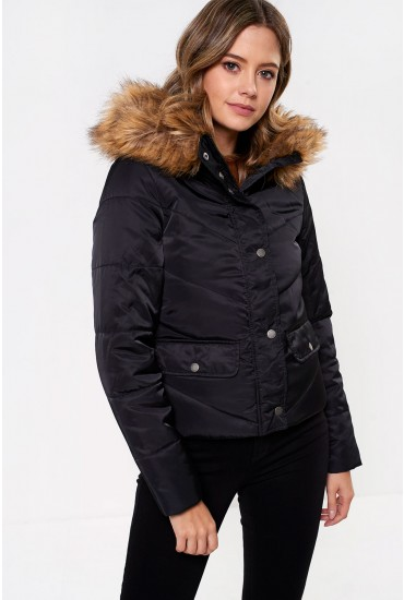 Simona Short Padded Jacket in Black