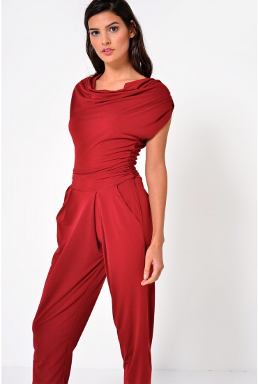 Linda Cowl Neck Jumpsuit in Burgundy