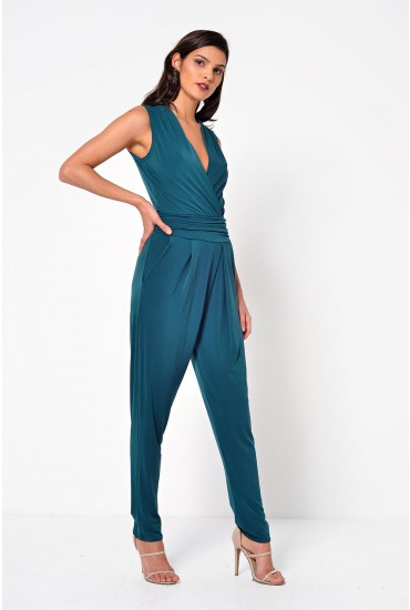 Hayley Deep V Jumpsuit in Green