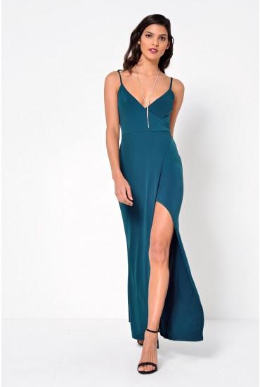 Sienna Strappy Wrap Maxi Dress in Emerald
