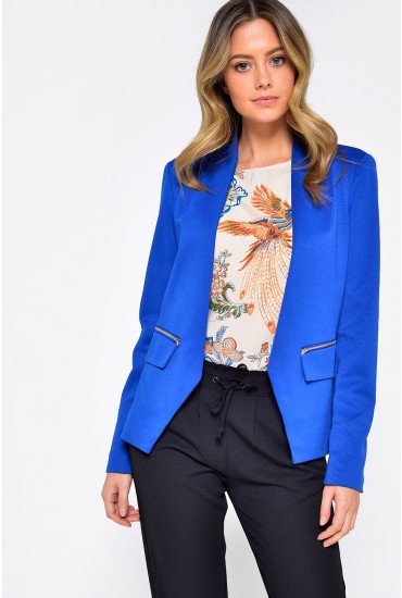 Maura Zip Blazer in Royal Blue