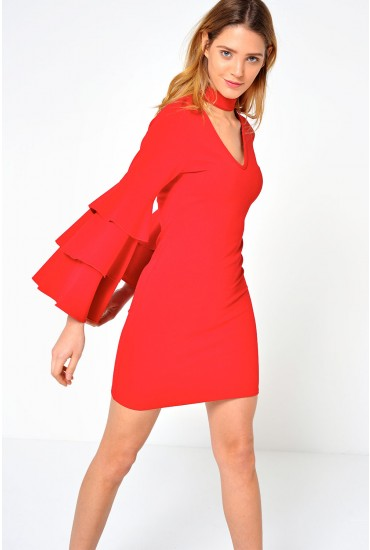 Charlie Flared Sleeve Dress in Red