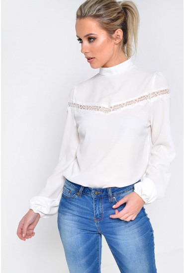 Phoenix High Neck with Lace Insert Blouse in White
