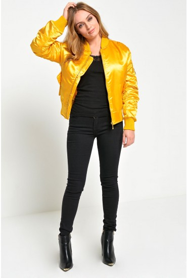 Niamh Satin Bomber Jacket in Mustard