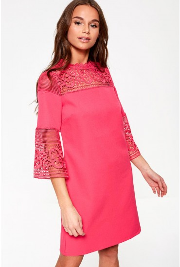 Joyce 3/4 Sleeve Lace Dress in Cerise