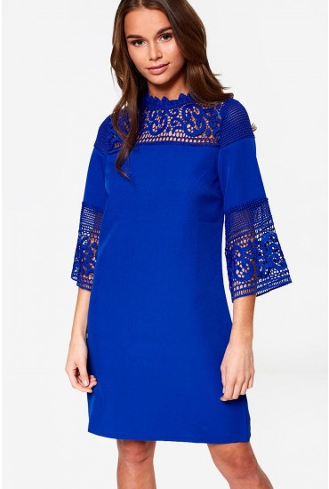 Joyce 3/4 Sleeve Lace Dress in Royal Blue