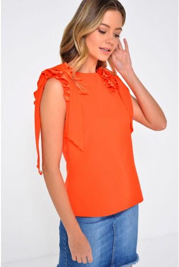 Bonnie Frill Shoulder Top in Orange