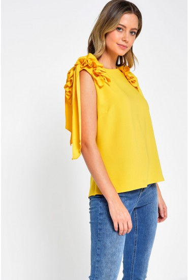 Bonnie Frill Shoulder Top in Yellow