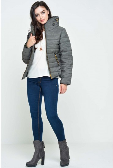 Alanah Puffer Jacket in Khaki