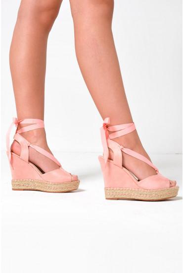 Gerri Ankle Tie Espadrille Wedges in Pink
