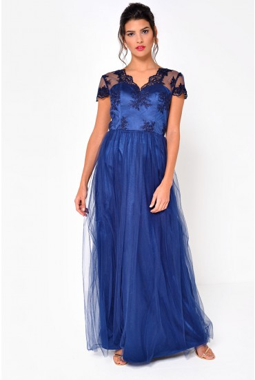 Dorota Lace and Tulle Maxi Dress in Navy