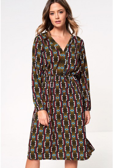 Joy Long Sleeve Midi Dress in Dot Print