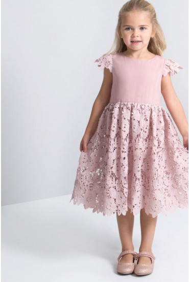 Bella Kids Tulle Crochet Dress in Blush-pink