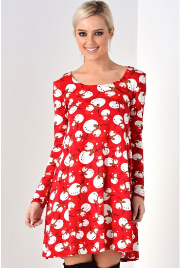 April Snowman Christmas Dress in Red
