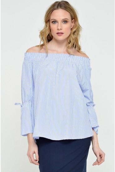 Hazel Striped Off the Shoulder Top in Blue
