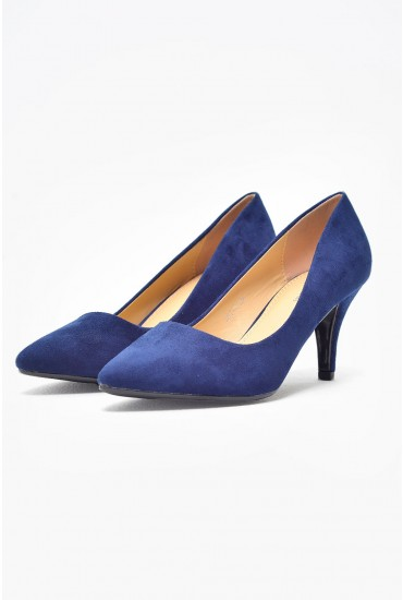 Lottie Mid Heel Court Shoe in Navy