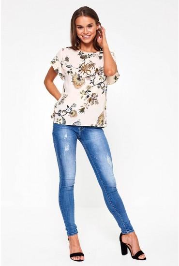 Sabrina High Waist Distressed Jeans in Medium Blue Denim