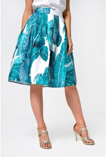Camille Leaf Print Skirt