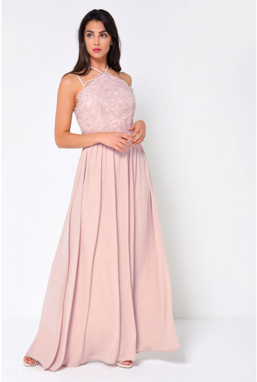 Deanna Crochet Top Maxi Dress in Blush