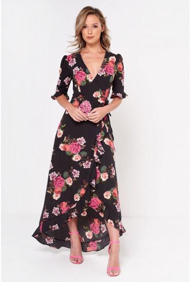 Rosha Printed Midi Wrap Dress in Black