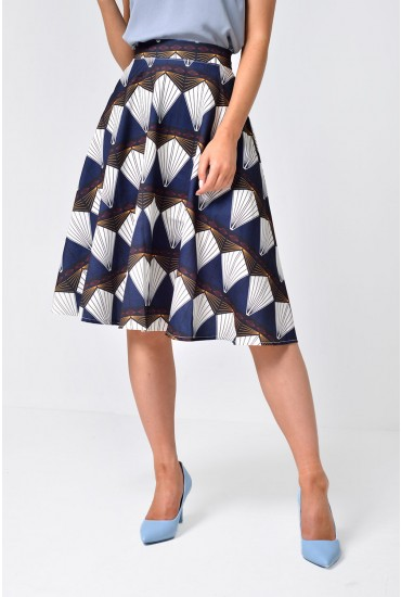 Tara Printed Skater Skirt in Navy